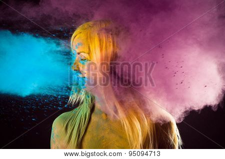 woman in bright colors Holi