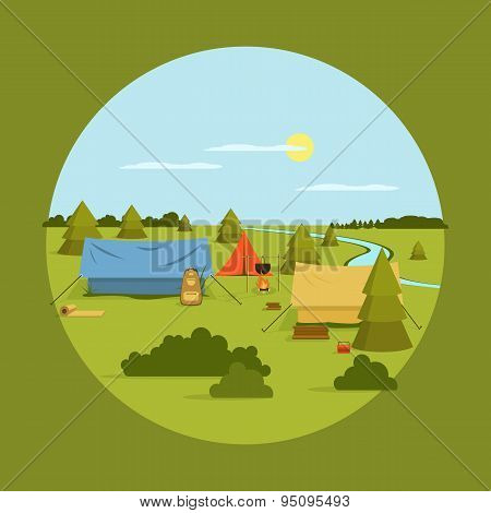 Vector image of camping on vocation