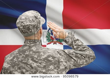 Soldier In Hat Facing National Flag Series - Dominican Republic