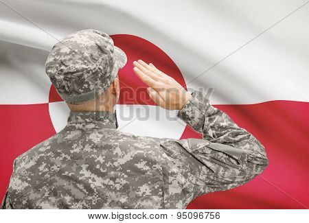Soldier In Hat Facing National Flag Series - Greenland