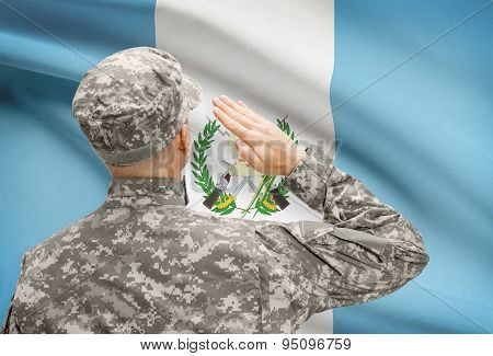 Soldier In Hat Facing National Flag Series - Guatemala