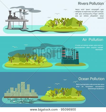 Vector landscape with air, ocean pollution.