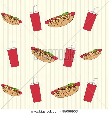 Seamless background with hot dogs and drinks