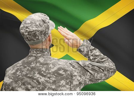 Soldier In Hat Facing National Flag Series - Jamaica