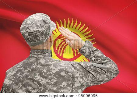 Soldier In Hat Facing National Flag Series - Kyrgyzstan