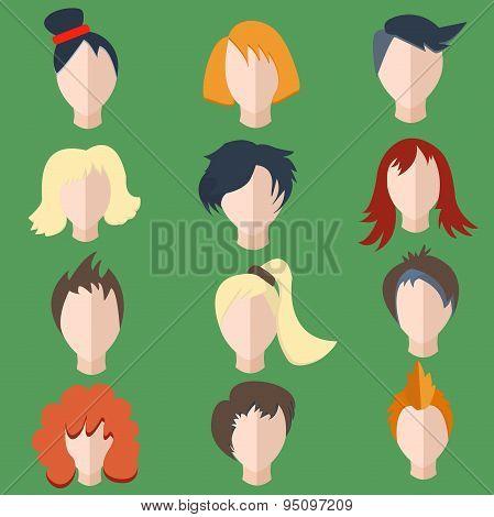 Set isolated men, women wigs