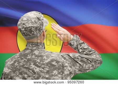 Soldier In Hat Facing National Flag Series - New Caledonia