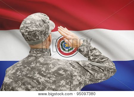 Soldier In Hat Facing National Flag Series - Paraguay