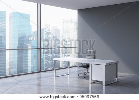 A Workplace In A Modern Corner Panoramic Office In Singapore. A Concept Of Financial Consulting Serv