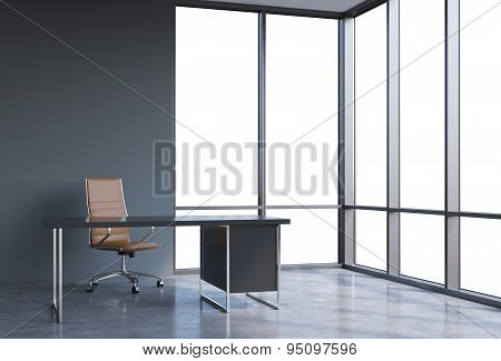 A Workplace In A Modern Corner Panoramic Office, Copy Space On Windows. A Brown Leather Chair And A