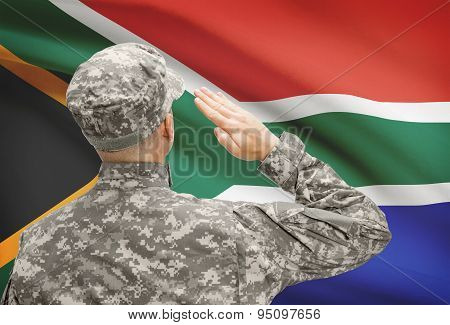 Soldier In Hat Facing National Flag Series - South Africa