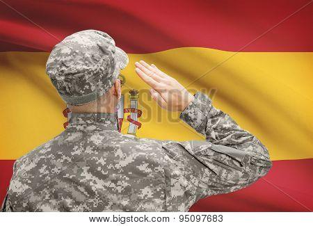 Soldier In Hat Facing National Flag Series - Spain