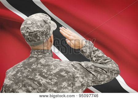 Soldier In Hat Facing National Flag Series - Trinidad And Tobago