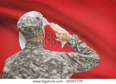 Soldier In Hat Facing National Flag Series - Turkey