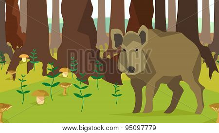 Boar in forest with trees, fungus, seamless, animals, nature