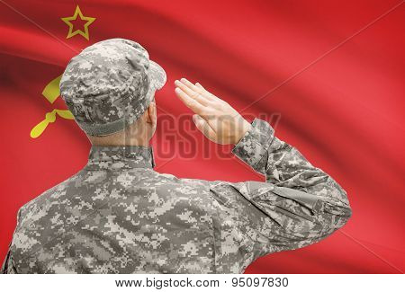 Soldier In Hat Facing National Flag Series - Ussr - Soviet Union