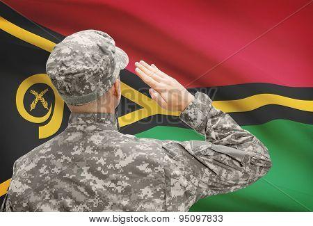 Soldier In Hat Facing National Flag Series - Vanuatu