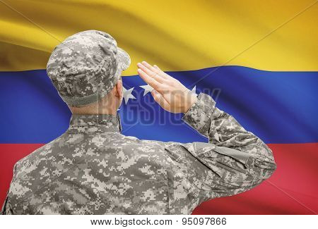 Soldier In Hat Facing National Flag Series - Venezuela