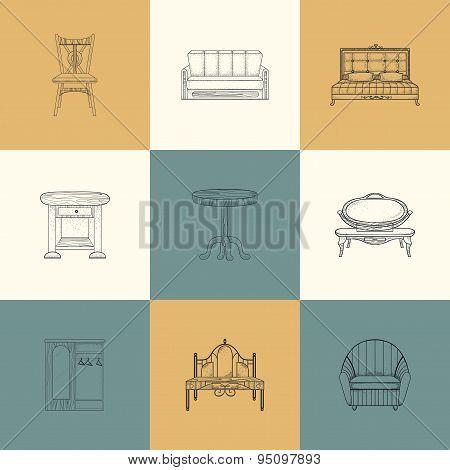 Set of illustrations furniture for home.