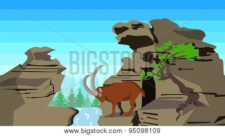Goat on rocks with tree, seamless, animals, nature