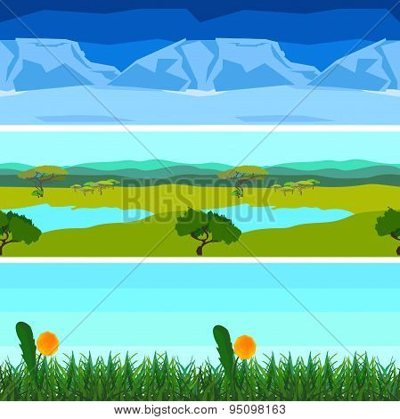 Set nature backgrounds horizontal tile patterns seamless