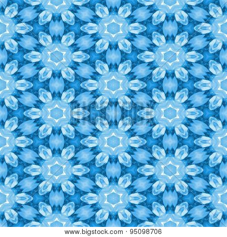 Seamless Pattern With Icy Blue Flowers