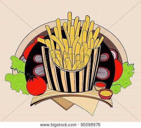 Illustration of fried fries.