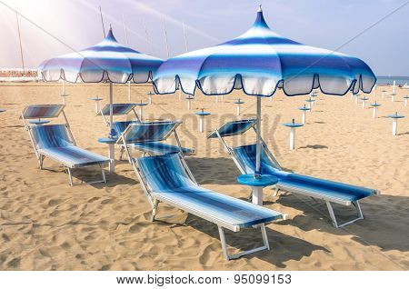 Parasols And Sunbeds At Rimini Beach - Italian Summer