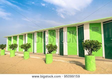 Colorful Dressing Cabins At The Beach - Concept Of Upcoming Summer In Rimini Italy