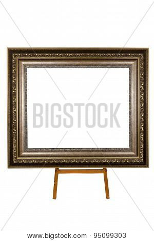 Ancient Wooden Photo Frame On Easel Isolated On White