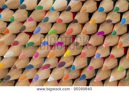 Collection Of Colored Cedar Wooden Pencils.