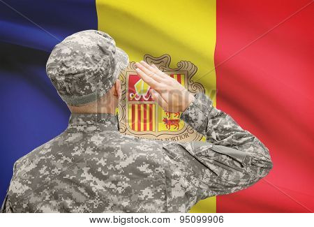 Soldier In Hat Facing National Flag Series - Andorra