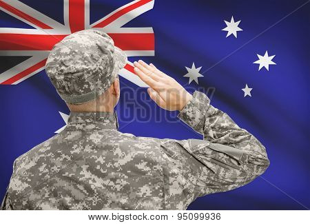 Soldier In Hat Facing National Flag Series - Australia