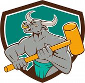 image of creatures  - Illustration of a minotaur mythological creature with the head of a bull and body of a man holding a sledgehammer set inside shield crest on isolated background done in cartoon style - JPG