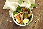 picture of quail  - Chicken and mushroom salad with quail eggs and fresh herbs - JPG