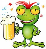 stock photo of amphibious  - crazy frog cartoon with schooner beer on white background - JPG