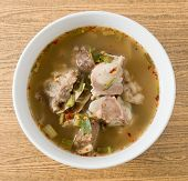 image of thai cuisine  - Thai Cuisine and Food Top View of Delicious Thai Clear Spicy Hot and Sour Soup with Beef Entrails in A Bowl - JPG