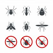 stock photo of mosquito  - Insect simple vector icon set  - JPG