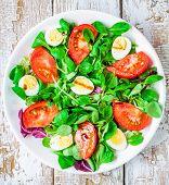 foto of quail  - fresh green salad with lamb - JPG