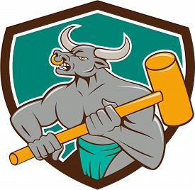picture of minotaur  - Illustration of a minotaur mythological creature with the head of a bull and body of a man holding a sledgehammer set inside shield crest on isolated background done in cartoon style - JPG