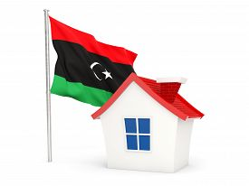picture of libya  - House with flag of libya isolated on white - JPG