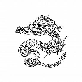 foto of dragon  - dragon tattoo coloring zentangle coloring page isolated - JPG