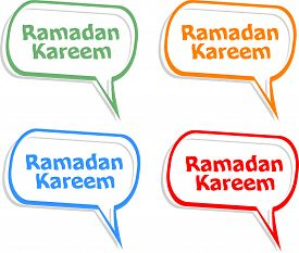 picture of ramadan calligraphy  - Arabic Islamic calligraphy of text Ramadan Kareem stickers label tag set - JPG