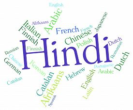 stock photo of dialect  - Hindi Language Indicating Translate Dialect And Words - JPG
