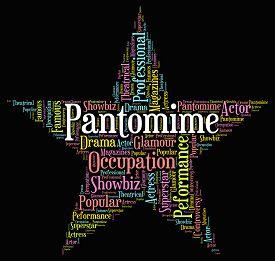 foto of pantomime  - Pantomime Star Showing Drama Melodrama And Text - JPG