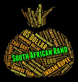foto of zar  - South African Rand Showing Exchange Rate And Wordcloud - JPG
