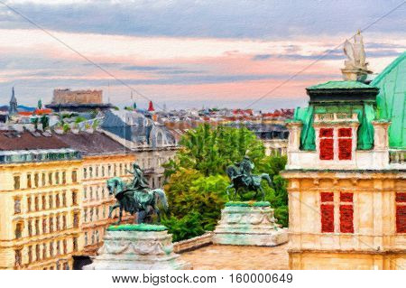 View on Vienna and State Opera house at sunset. Austria. Oil painting effect.