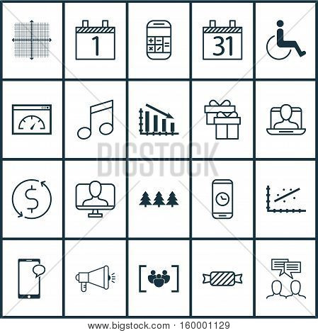 Set Of 20 Universal Editable Icons. Can Be Used For Web, Mobile And App Design. Includes Elements Such As Media Campaign, Analytics, Accessibility And More.
