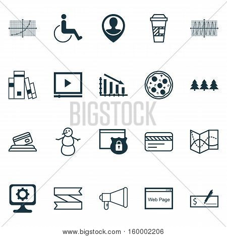 Set Of 20 Universal Editable Icons. Can Be Used For Web, Mobile And App Design. Includes Elements Such As Fail Graph, Blank Ribbon, Cosinus Diagram And More.