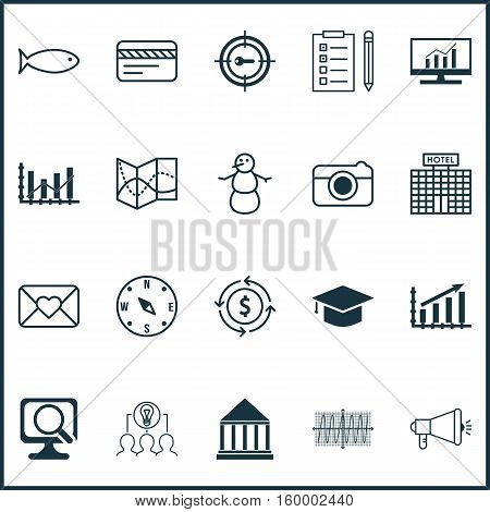 Set Of 20 Universal Editable Icons. Can Be Used For Web, Mobile And App Design. Includes Elements Such As Laptop, Media Campaign, Hotel Construction And More.